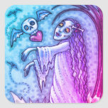 LOVE SICK GIRL ZOMBIE FOLLOWING HER HEART, WHIMSY SQUARE STICKER