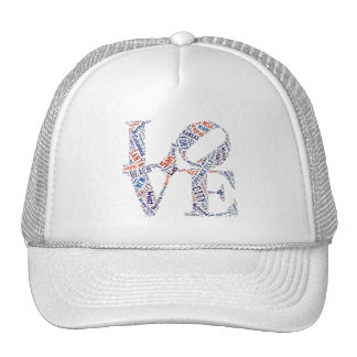 Love Sign American Cities Tag Cloud Words Trucker Hat
