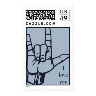 Love sign (blue) postage stamps