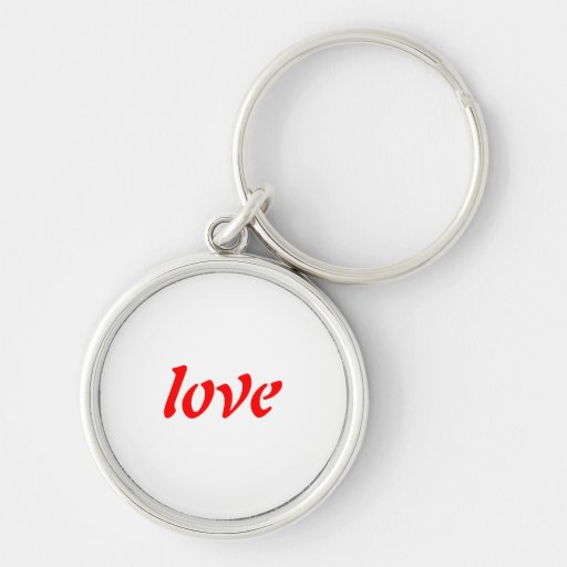 love Silver-Colored round keychain