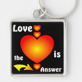 Love Silver-Colored Square Keychain