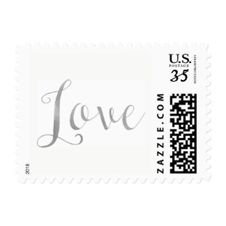 Love Silver Faux Smooth Foil Modern Chic Postage