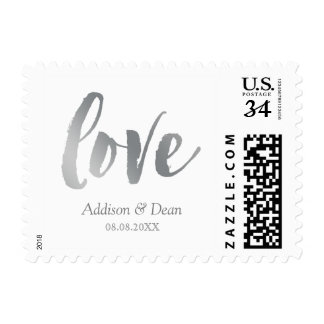 Love | Silver & White | Custom Names & Date Postage