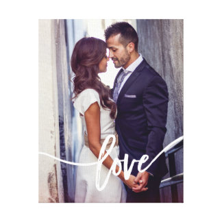Love   Simple Modern Typography with your Photo Canvas Print