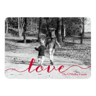 Love | Simple Red Script Photo Valentine's Day 5x7 Paper Invitation Card