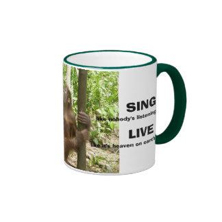 Love, Sing, Live, & Dance Inspirational Quotations Ringer Mug