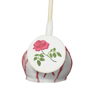 Love Single Red Rose Flower Cake Pops