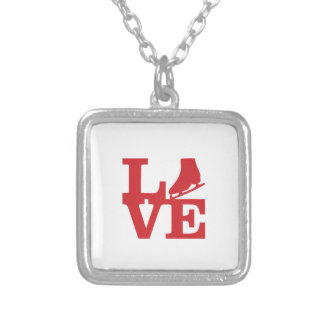 Love Skate Silver Plated Necklace