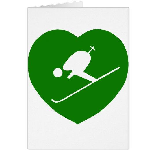 Love Skiing Green Heart Card