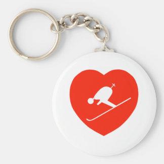 Love Skiing Red Heart Keychain