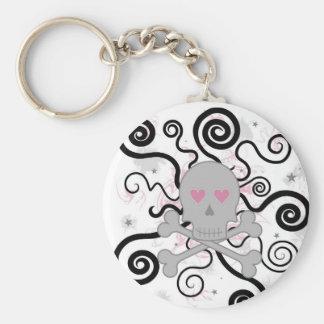 love skull basic round button keychain
