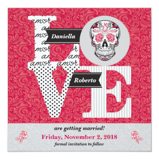 LOVE Skull & Roses Square Damask Save the Dates Card