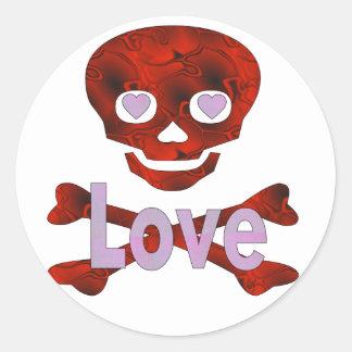 Love Skull Round Stickers