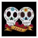 """Love Skulls """"Amor"""" Poster"""