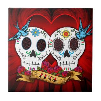 Love Skulls and Bluebirds Tile