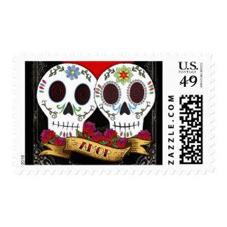 Love Skulls Postage Stamps