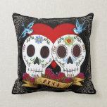 Love Skulls Throw Pillow