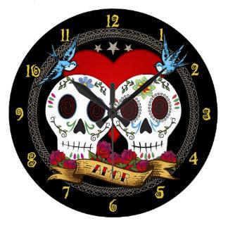 Love Skulls Wall Clock