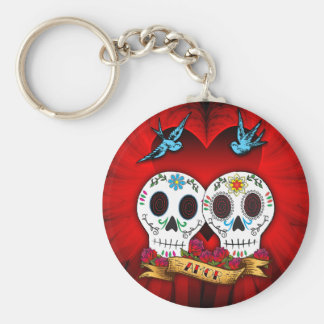 Love Skulls with Bluebirds Keychain