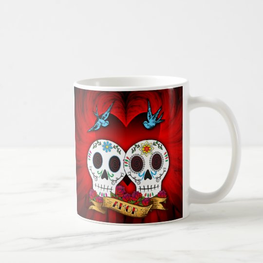 Love Skulls with Bluebirds Mug