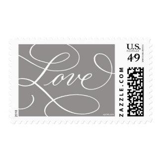 Love . Slate Gray White Postage Stamp