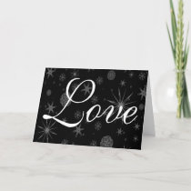 Love Snowflakes Stars Dark Sky Holidays Christmas Holiday Card