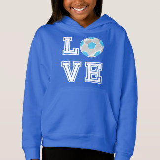 Love Soccer  - Baby Blue and White Hoodie