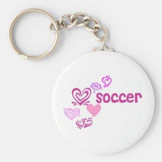 Love Soccer Basic Round Button Keychain