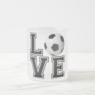 Love Soccer College Style Frosted Glass Coffee Mug