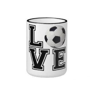 Love Soccer College Style Ringer Mug