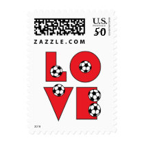Love Soccer in Red Postage