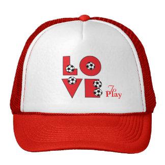Love Soccer in Red Trucker Hat