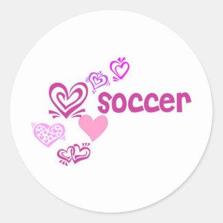 Love Soccer Round Sticker