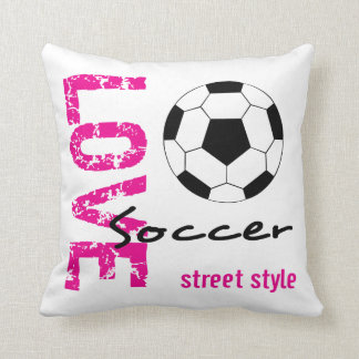 Love Soccer Street Style Pink Throw Pillow