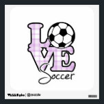 """Love Soccer Wall Sticker<br><div class=""""desc"""">You will love this cute,  purple design.  Great gift for a girly girl that loves soccer player; soccer ball !  Available on a variety of cool &amp; funny products that are perfect for gifts!</div>"""
