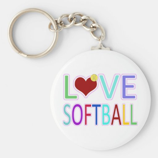 LOVE SOFTBALL BASIC ROUND BUTTON KEYCHAIN