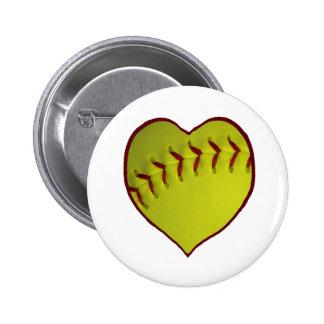 Love Softball Pinback Button