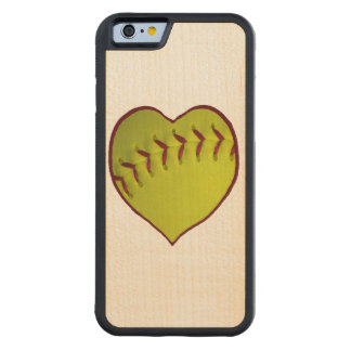 Love Softball Carved Maple iPhone 6 Bumper Case