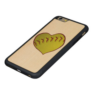 Love Softball Carved Maple iPhone 6 Plus Bumper Case