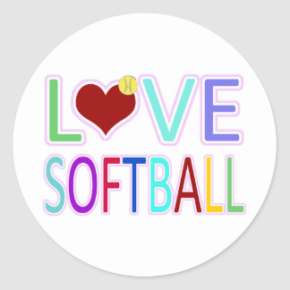 LOVE SOFTBALL CLASSIC ROUND STICKER