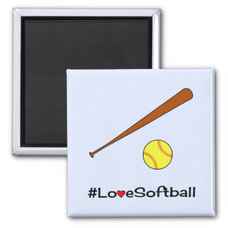 Love softball hashtag slogan sports magnet