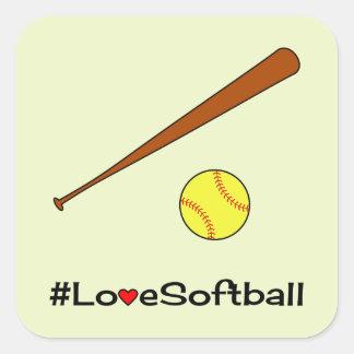 Love softball hashtag slogan sports square sticker