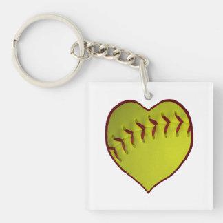 Love Softball Acrylic Key Chain