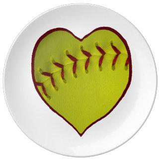 Love Softball Porcelain Plates