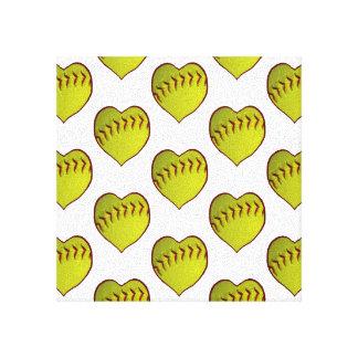 Love Softball Pattern Gallery Wrap Canvas