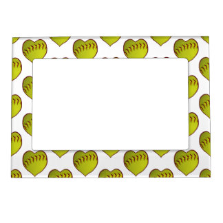 Love Softball Pattern Magnetic Photo Frame