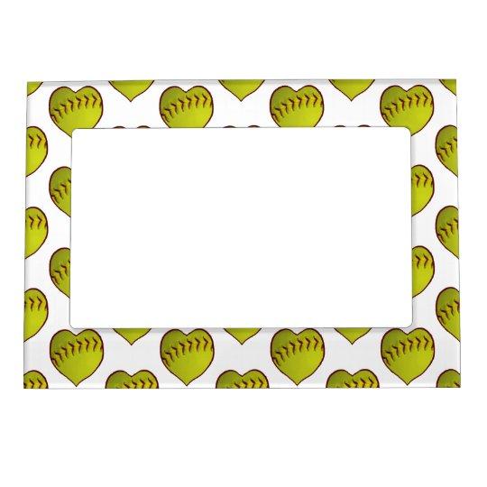 Love Softball Pattern Magnetic Photo Frame | Zazzle.com