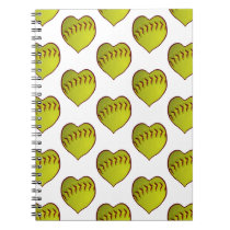 Love Softball Pattern Notebook