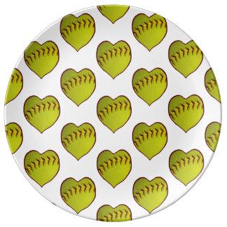 Love Softball Pattern Plate