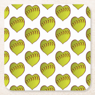 Love Softball Pattern Square Paper Coaster